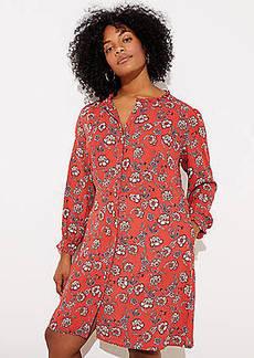 LOFT Plus Floral Ruffle Trim Shirtdress