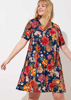 LOFT Plus Floral Short Sleeve Swing Dress