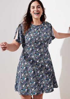 LOFT Plus Floral Split Flutter Sleeve Dress