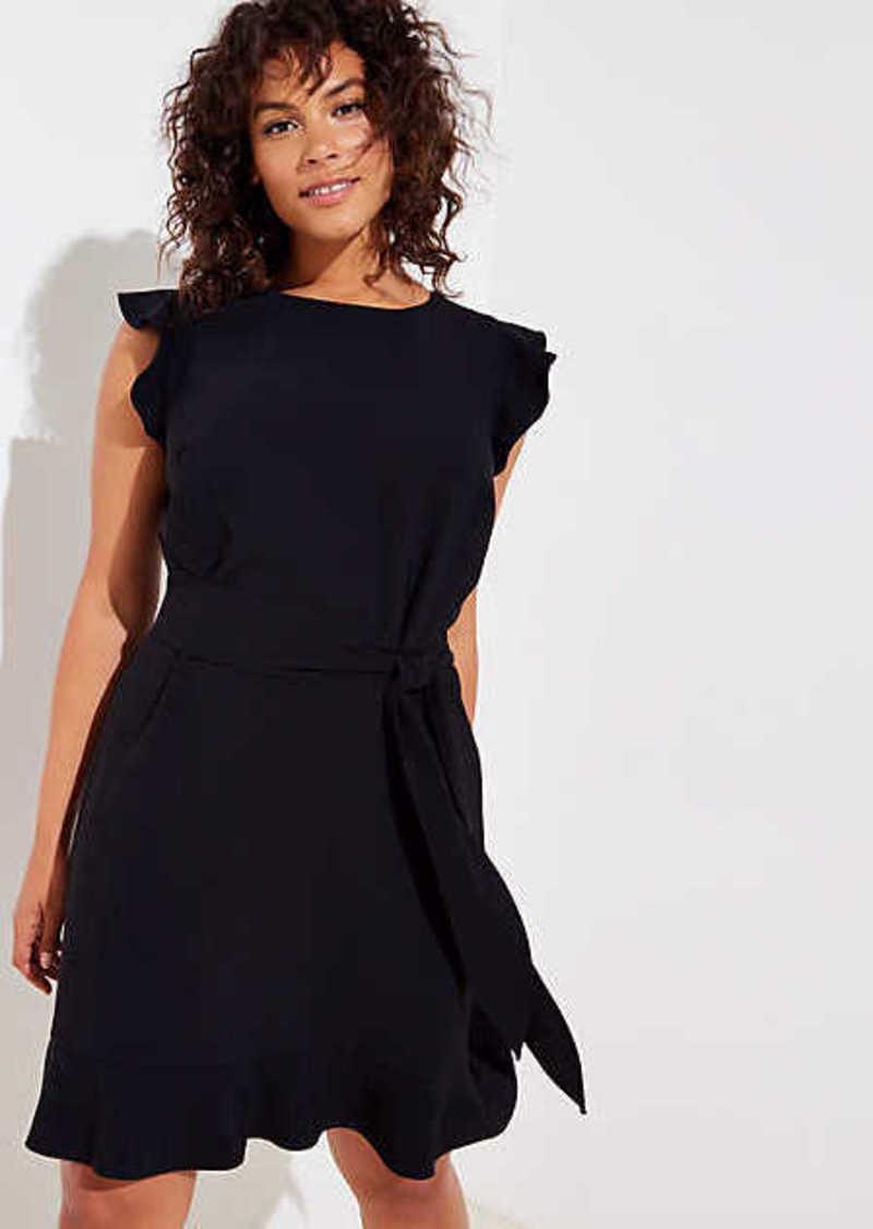 LOFT Plus Flutter Belted Flare Dress