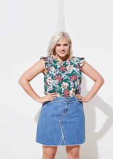 LOFT Plus Frayed Denim Skirt