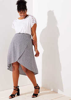 LOFT Plus Gingham A-Line Wrap Skirt