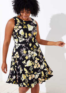 LOFT Plus Golden Floral Flare Dress