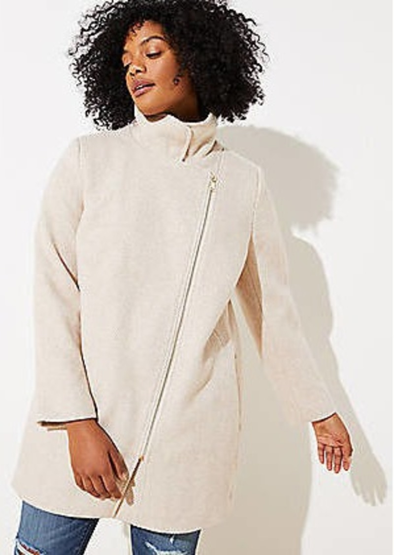 LOFT Plus Herringbone Funnel neck Moto Coat
