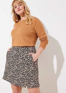 LOFT Plus Leopard Jacquard Pocket Skirt