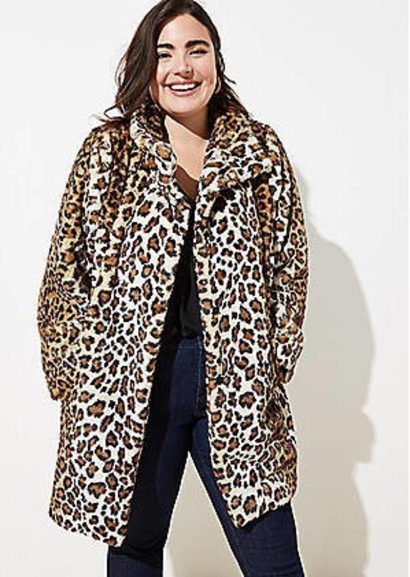 LOFT Plus Leopard Print Faux Fur Funnel Neck Coat