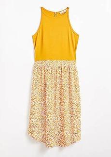 LOFT Plus Leopard Print Mixed Media Flare Dress