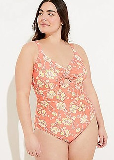 LOFT Plus LOFT Beach Floral Keyhole One Piece Swimsuit