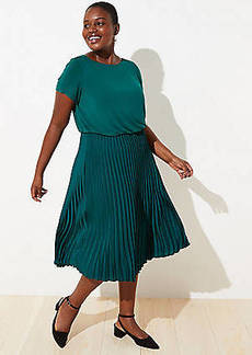 LOFT Plus Mixed Media Pleated Dress
