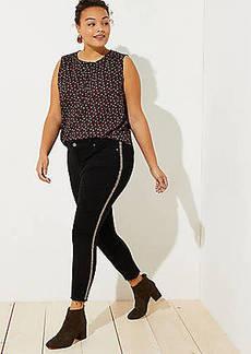 LOFT Plus Modern Beaded Skinny Jeans in Black