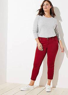 LOFT Plus Modern Button Cuff Skinny Jeans in Robin Red