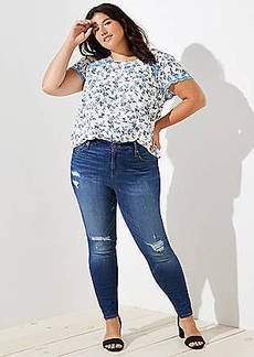 LOFT Plus Modern Distressed High Rise Skinny Jeans in Mid Indigo Wash