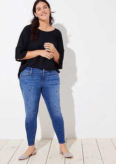 LOFT Plus Modern Dot Skinny Jeans in Bright Mid Indigo Wash