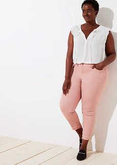 LOFT Plus Modern Double Frayed Skinny Crop Jeans in Pink
