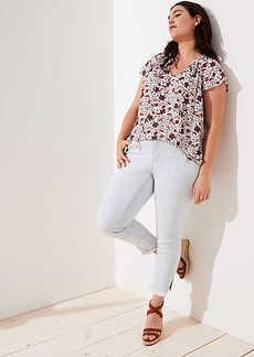 LOFT Plus Modern Slit Frayed Skinny Crop Jeans in Pale Indigo