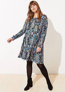 LOFT Plus Paisley Long Sleeve Swing Dress