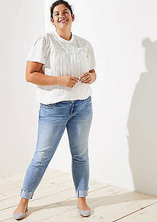 LOFT Plus Pearlized Trim Flip Cuff Skinny Jeans in Staple Light Indigo Wash