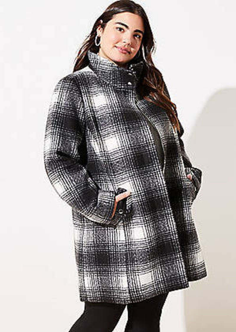 LOFT Plus Plaid Funnel Neck Coat