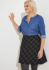 LOFT Plus Plaid Knit Flippy Skirt