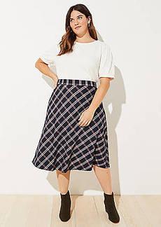 LOFT Plus Plaid Midi Skirt