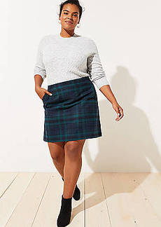 LOFT Plus Plaid Pocket Shift Skirt