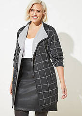 LOFT Plus Plaid Reversible Sweater Jacket