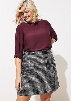LOFT Plus Plaid Zip Pocket Shift Skirt