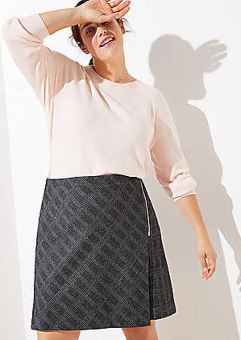 LOFT Plus Plaid Zip Wrap Skirt