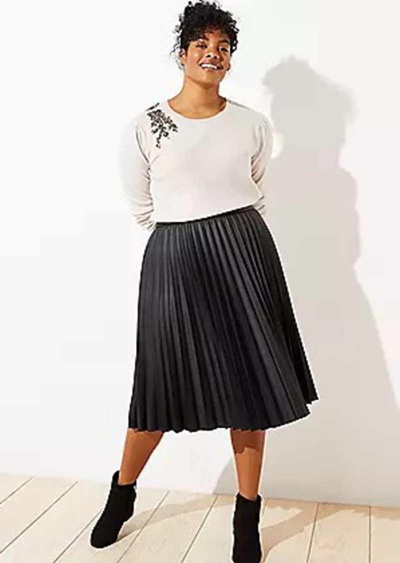 LOFT Plus Pleated Faux Leather Midi Skirt