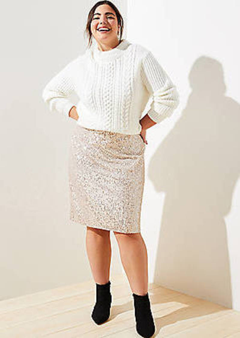 LOFT Plus Sequin Pencil Skirt