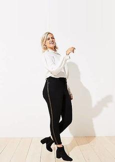 LOFT Plus Shimmer Stripe Slim Pocket Skinny Jeans in Black