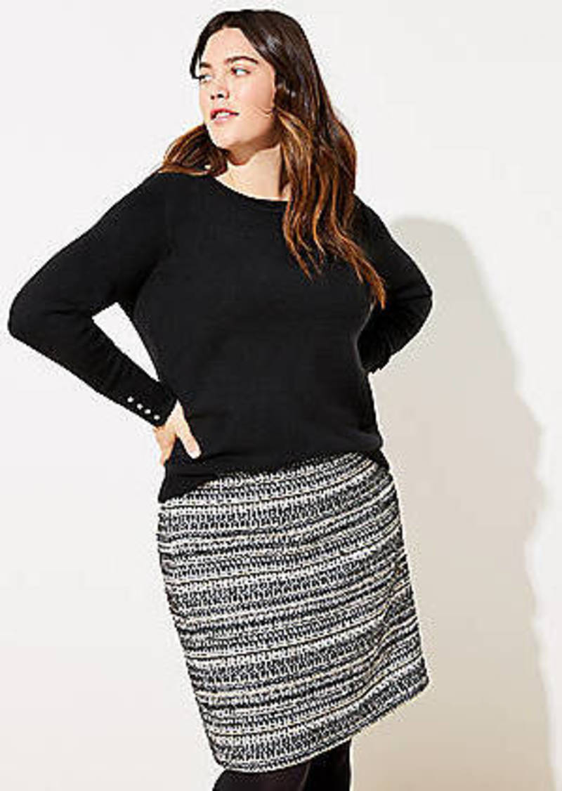 LOFT Plus Shimmer Tweed Shift Skirt