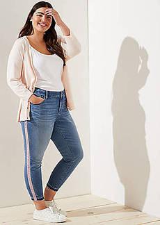 LOFT Plus Skinny Jeans in Velvet Stripe