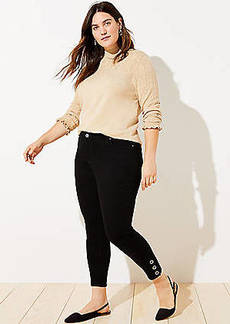 LOFT Plus Snap Hem Slim Pocket Skinny Jeans in Black