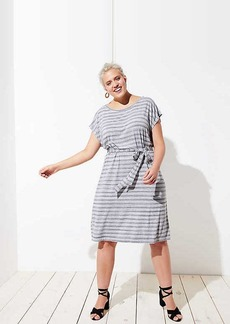 LOFT Plus Striped Belted Tee Dress