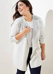 LOFT Plus Striped Reversible Sweater Jacket