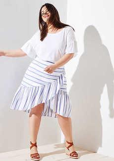 LOFT Plus Striped Ruffle Wrap Skirt