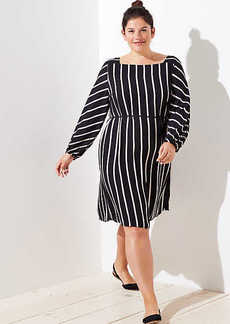 LOFT Plus Striped Square Neck Tie Waist Dress