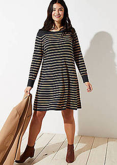 LOFT Plus Striped Swing Sweater Dress