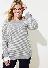LOFT Plus Striped Tie Cuff Mixed Media Sweater