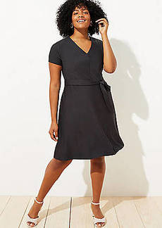 LOFT Plus Striped Tie Waist Flare Pocket Dress