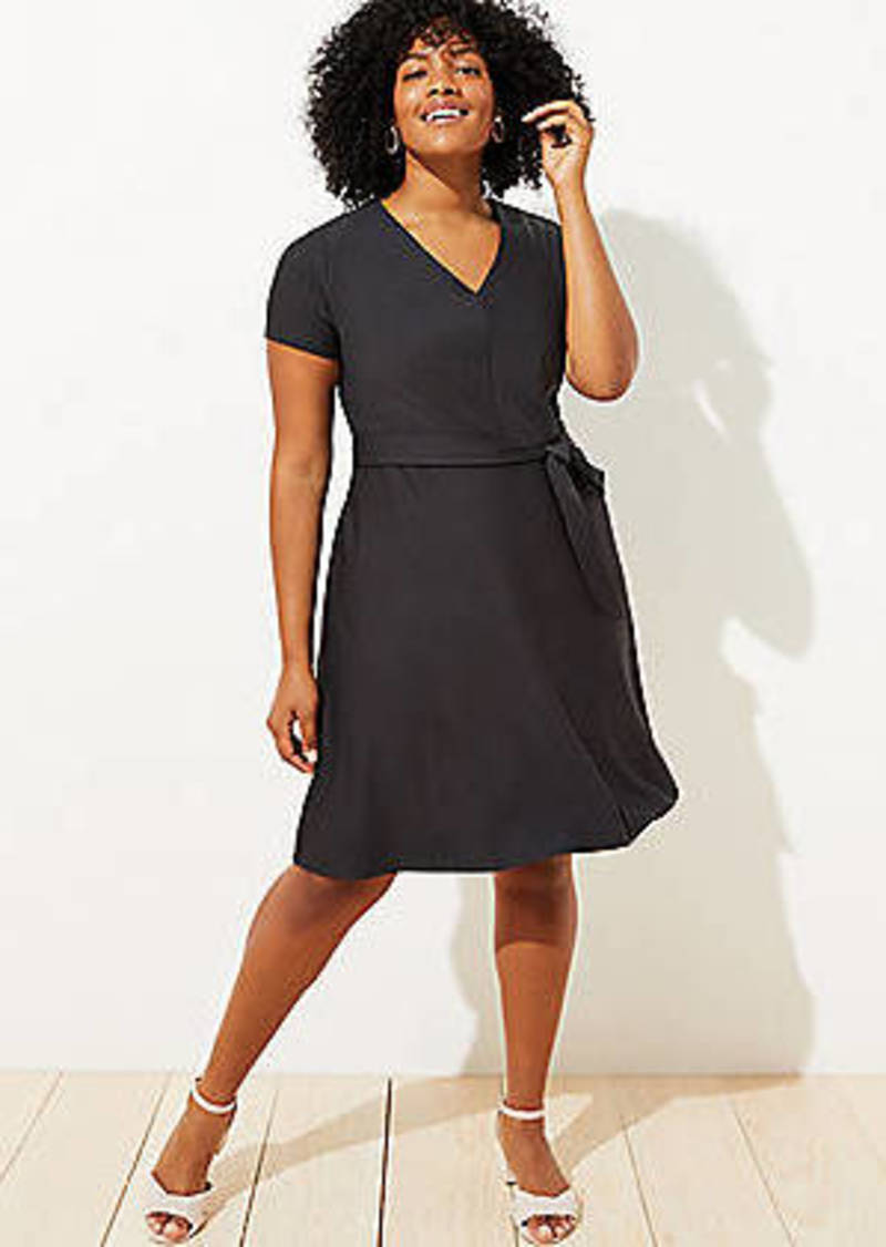 LOFT Plus Striped Tie Waist Flare Pocket Dress