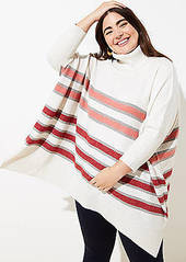 LOFT Plus Striped Turtleneck Poncho Sweater