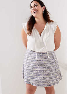 LOFT Plus Striped Tweed Pocket Flippy Skirt