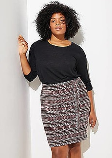 LOFT Plus Striped Tweed Tie Waist Skirt