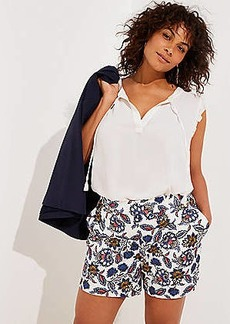 LOFT Plus Summer Blossom Button Tab Shorts