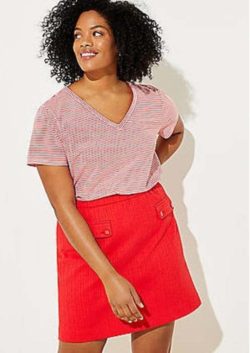 LOFT Plus Textured Pocket Shift Skirt