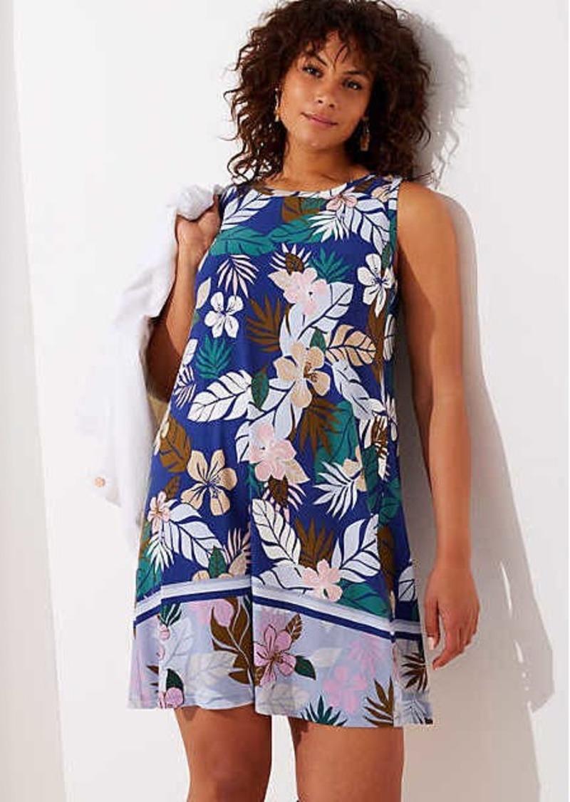 fcf9860a362 LOFT LOFT Plus Tropical Floral Flounce Sleeveless Swing Dress