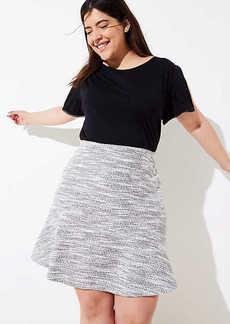 LOFT Plus Tweed Flounce Pull On Skirt