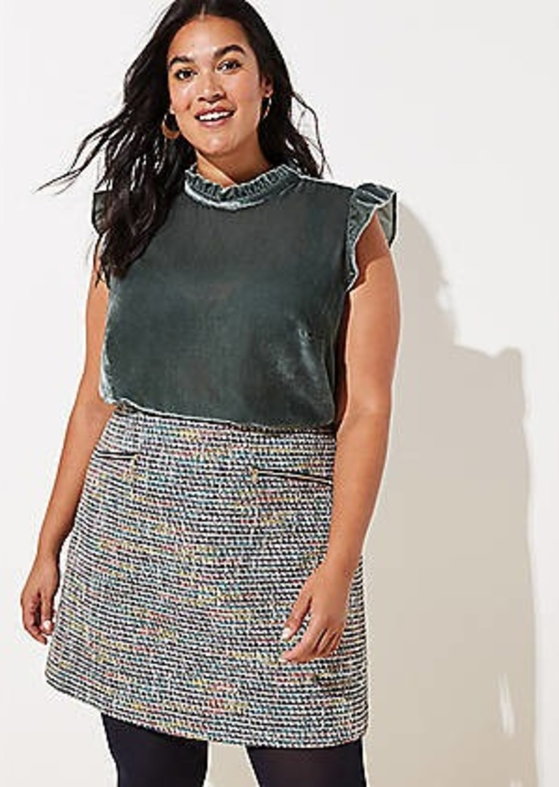 LOFT Plus Tweed Zip Pocket Shift Skirt